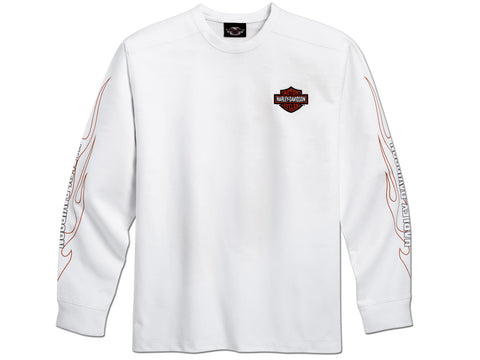 99125-10VM Harley-Davidson® Mens Knit Flame White Long Sleeve Shirt