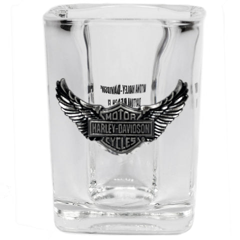 127722 H-D® Square Shot Glass with Medallion
