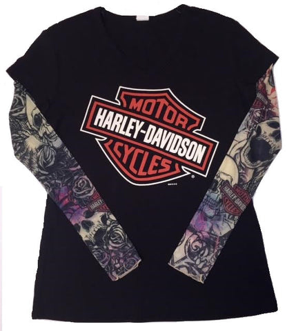 San Diego Harley-Davidson® Women's Skull Ink Slant Bar & Shield with Mesh Tattoo Sleeves