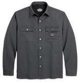 99011-11VM H-D® Mens Willie G Skull Grey Long Sleeve Shirt Jacket