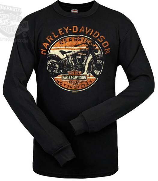 R0015514 - H-D® Mens Reversed Out Motorcycle Military Weave Black Long Sleeve Thermal