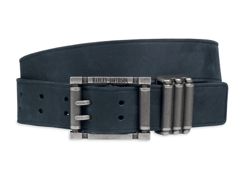97846-17VM  H-D Mens Textured Keeper Distressed Black Leather Belt