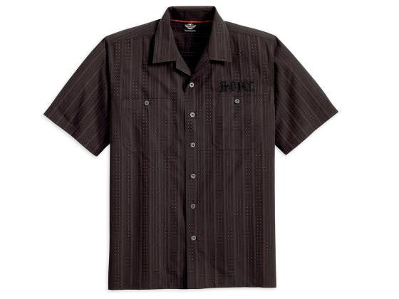96749-13VM H-D® Wrinkle-Resistant Textured Stripe Woven Shirt