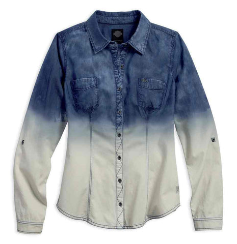 96393-16VW Harley-Davidson® Women's Indigo Dip-Dye Long Sleeve Shirt, Ombre Blue