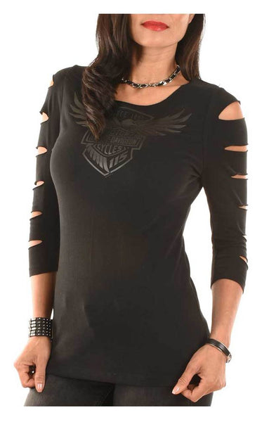 V5M0P-HG4W Harley-Davidson® Women's 115th Anniversary Heavenly Heritage Slit 3/4 Sleeve Tee