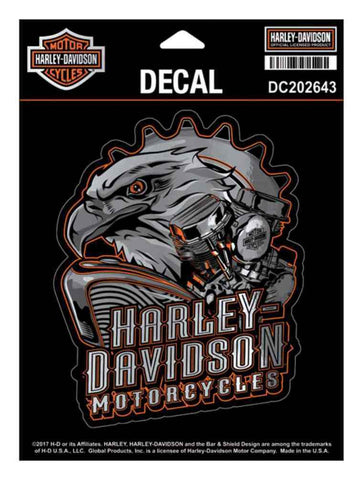 DC202643 Harley-Davidson® Eagle Engine Ultra Decal, Chrome MD Size 4.375 x 5.5 inch