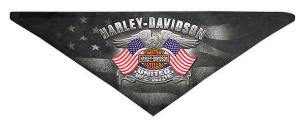 BAC12530 H-D® Mens United We Ride Eagle with Flags 3-In-1 Convertible Black Polyester Bandana