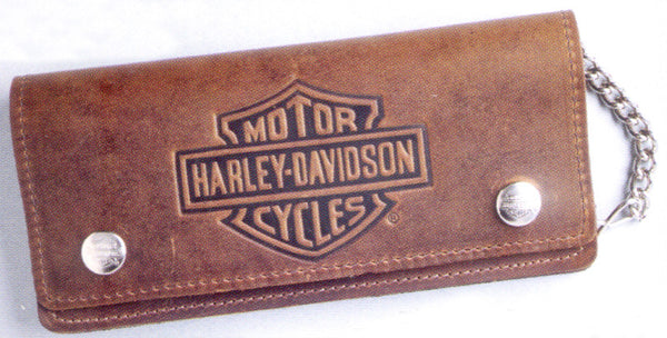 BW404H Harley-Davidson® Men's Embossed B&S Brown Leather Long Chain Wallet