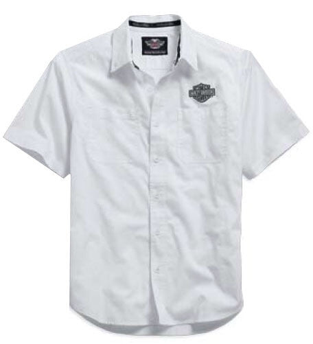 99014-15VM - Harley-Davidson® Men's Woven White Short Sleeve Shirt