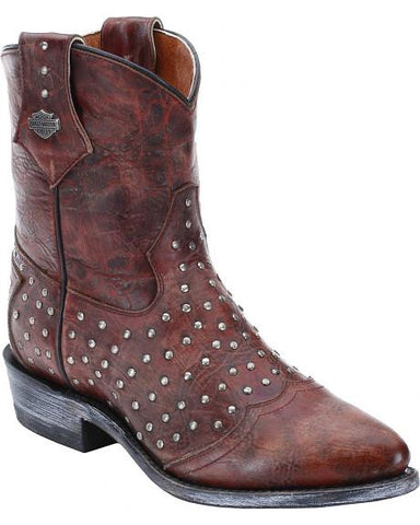 D83754 H-D® VIOLET Womens Pointed Toe Motorcycle Boots Red Leather