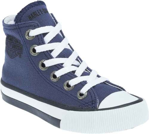 D61006 H-D Kid's Patch Blue Hi-Top Blue Athletic Sneakers