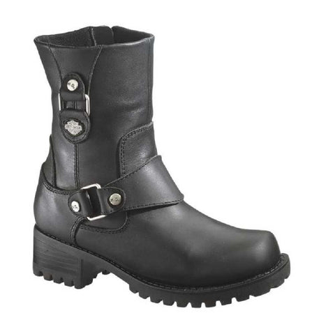 D84269  H-D® Women's Alivia Black Leather 7-Inch Motorcycle Boots