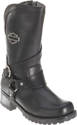 D85514  H-D® Women's Amber Black Leather 9.5-Inch Motorcycle Boots