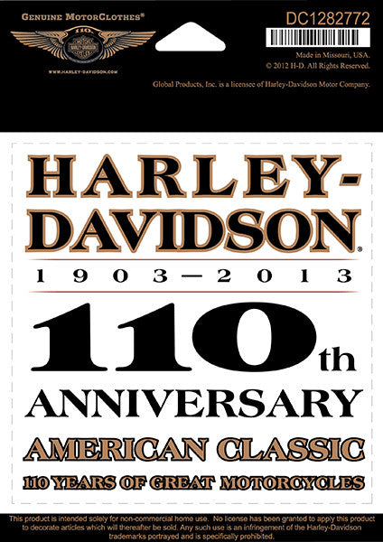 DC1282772 H-D 110th Anniversary Legend Small Decal