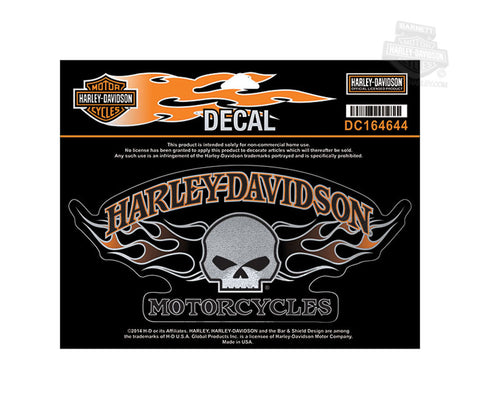 DC164644 - Harley-Davidson® Willie G Skull Flames Large Decal