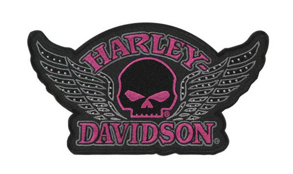 EM715303 Harley-Davidson Studded Emblem, Willie G. Skull Wing, Medium Size Patch
