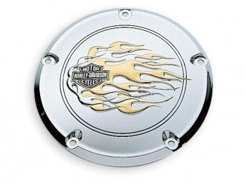 Gold & Chrome Flames Collection Derby Cover 25400-98
