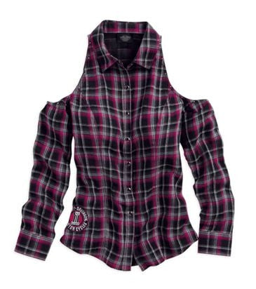 96290-13VW Harley-Davidson® Womens Cutout Shoulder Snap Front Plaid Long Sleeve Shirt