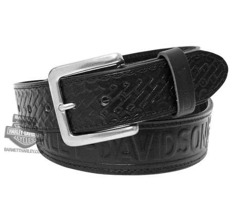 HD108B H-D® Mens Basket Weave Font Wings Black Leather Belt