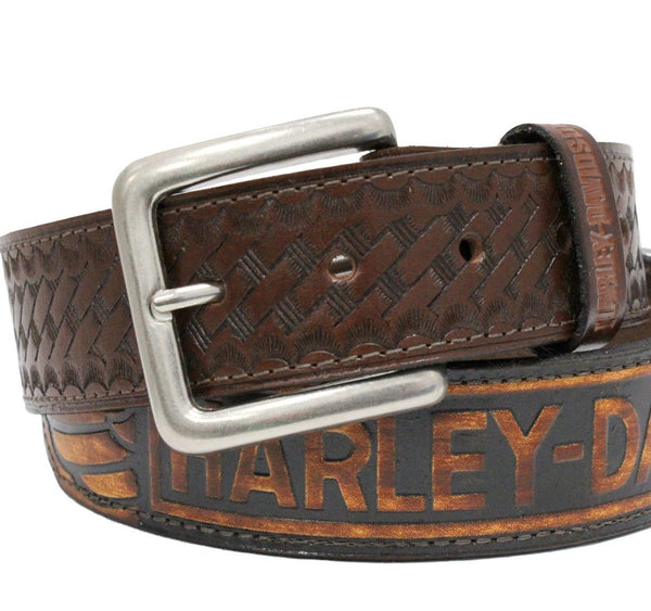 HD108C H-D® Mens Basket Weave Font Wings Brown Leather Belt