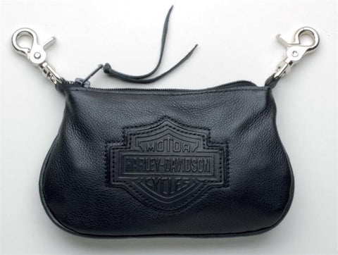 HD609 Harley-Davidson® Womens Embossed B&S Black Leather Clip Pouch
