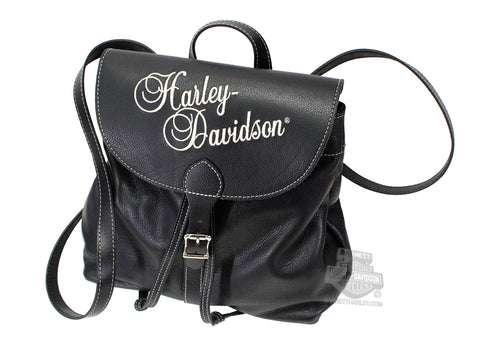 HD639 Harley-Davidson® Womens Tan Embroidered Script Black Leather Backpack Purse (40% Off)