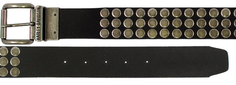 HDMBT10010 H-D Mens Stud Master Antique Nickel Studded Reversible Black Leather Belt