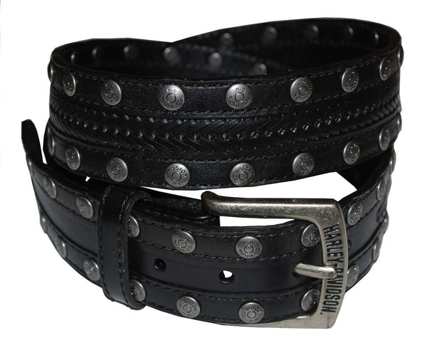 HDMBT10018 Harley-Davidson® Mens Slick Braid Panel Inlay with Antique Nickel Studs Black Leather Belt by LODIS