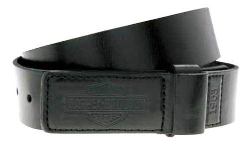 HDMBT10816 H-D Mens Mechanics Trademark B&S Covered Buckle Black Leather Belt