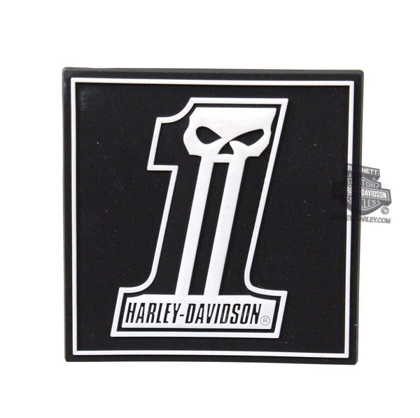 "HDMT0002 Harley-Davidson® Long Tooth #1 Skull 2.5"" Mile-Tile™ Black Magnet"