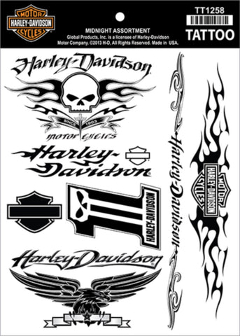 TT1258 Harley Davidson Midnight Assortment Temporary Tattoo Sheet