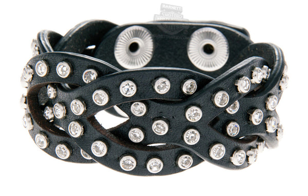 HDWCU10777 H-D Womens Jade Interwoven with Rhinestones Black Leather Wrist Cuff