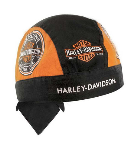 HW46964 H-D Men's Head Wrap, Motor Oil Bar & Shield, Black & Orange