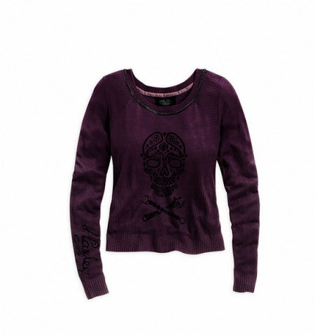 96064-15VW H-D Women's Skull Ribbed Sweater Black Label Slim Fit