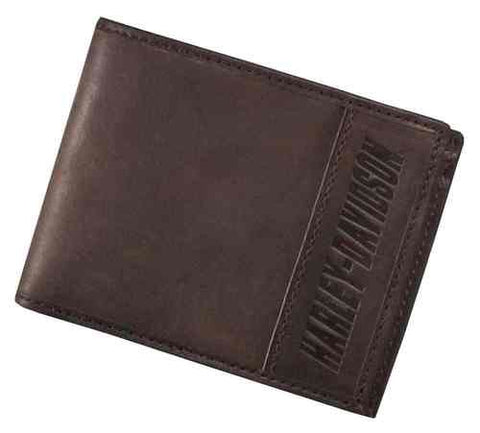 97675-16VM🔹 Harley-Davidson® Men's Embossed H-D Bi-Fold Wallet, Leather & Canvas