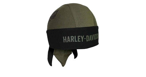 HW31253 H-D Mens Long B&S Olive Cotton Headwrap