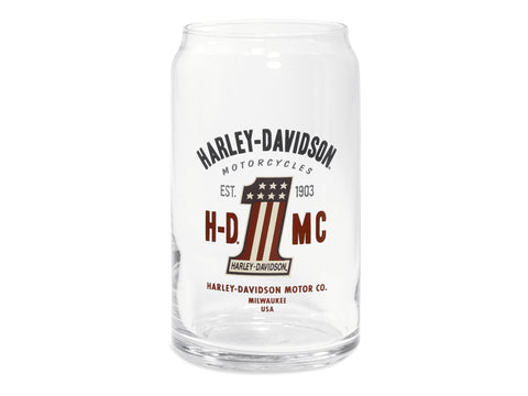 96892-16V Harley-Davidson® HDMC #1 Logo 16 oz Soda Can Glass