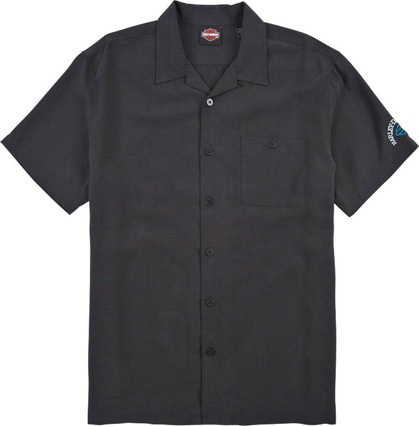 1905-3732-BLK Harley-Davidson® Men's Tori Richard® Head Hunter Woven Shirt | Willie G® Skull Embroidery On Back | Short Sleeves