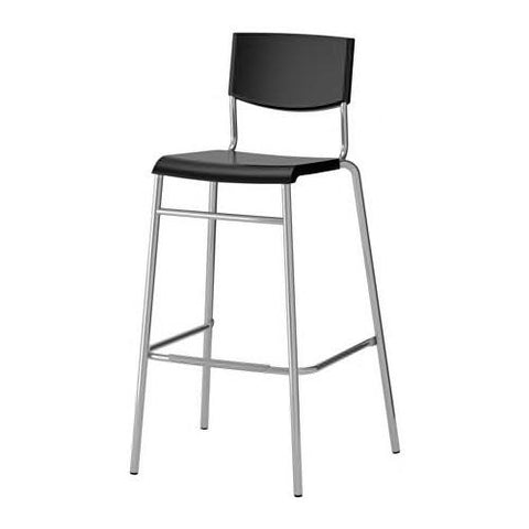 STIG Bar stool with backrest, black, silver-colour. 90161526