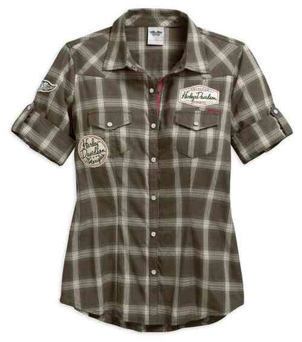 96077-17VW   H-D® Women's Multi-Patch Short Sleeve Plaid Shirt, Brown