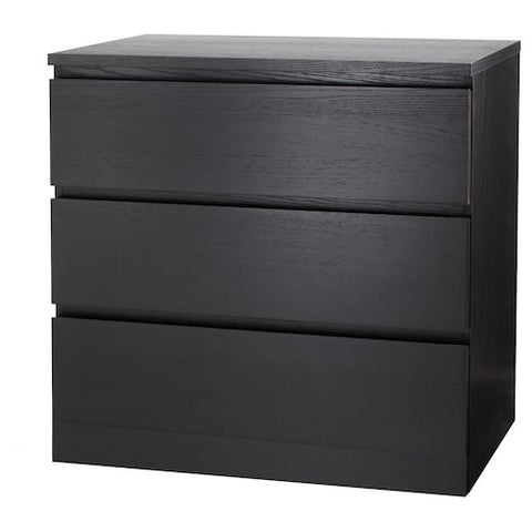 MALM Chest of 3 drawers, black-brown, 80x78 cm. 30354622