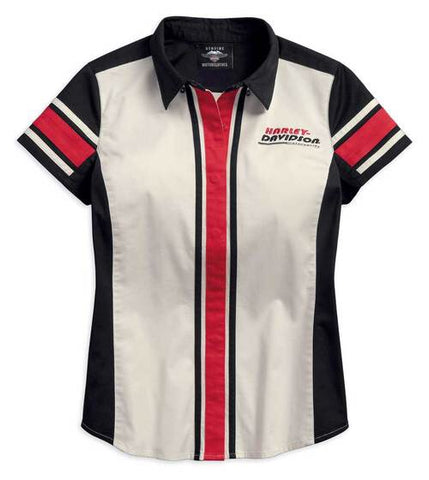 96203-18VW  H-D® Women's Vertical Stripe Colorblock Woven Shirt