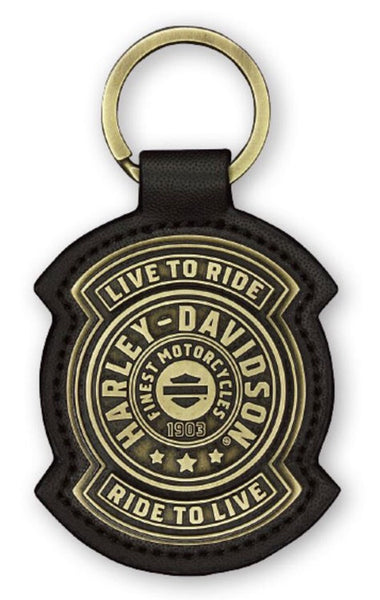 KY27868  H-D® Harley Shield Antiqued Bronze & Leather Fob Keychain