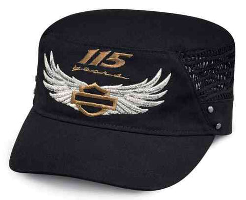 99421-18VW  H-D® Women's 115th Anniversary Mesh Flat Top Cap, Black