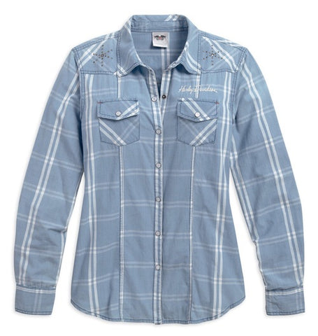 96088-17VW  Harley-Davidson® Women's Crewel Embroidered Plaid Woven Shirt, Blue