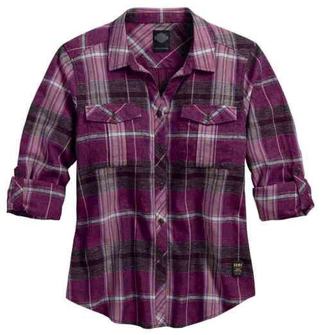96191-17VW  H-D® Women's Roll-Tab Sleeve Plaid Shirt, Purple