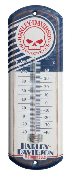 HDL-10099 * H-D® Retro Willie G Skull Mini Thermometer, 4.125 x 12 inch