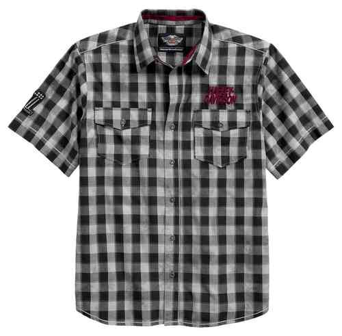 96599-17VM H-D Men's Chain Stitch Plaid Short Sleeve Woven Shirt