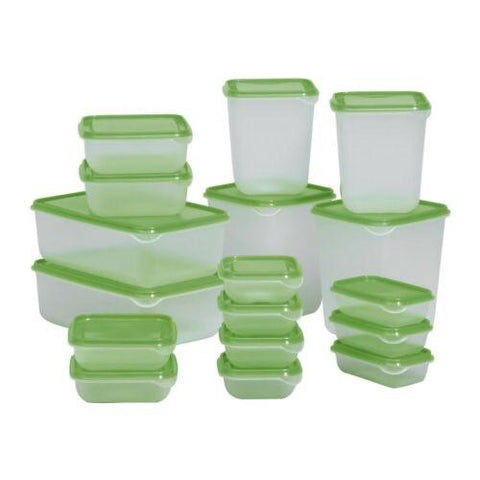 PRUTA Food container, set of 17, green. 30160964