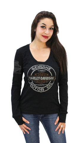 5Q27-H90H - HD Womens Rusted Mirror Trademark B&S with Rhinestones Black Long Sleeve T-Shirt